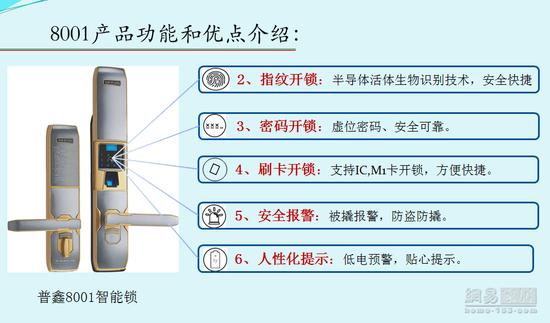 """2017""""葵花""""奖智能锁评选参选作品:普鑫8001"""