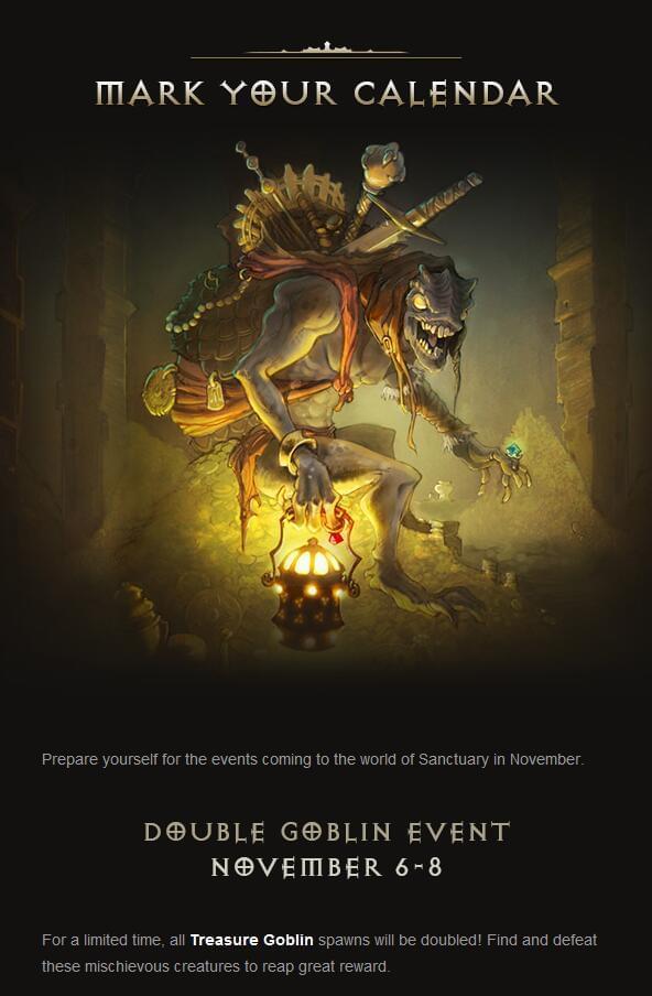 11月6日暗黑3开放双倍哥布林 11月9日新赛季开启