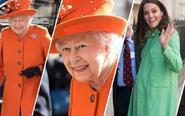 英国女王和王妃橙绿配
