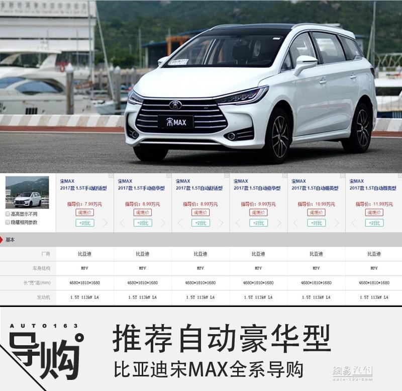推荐自动豪华型 比亚迪宋MAX全系导购