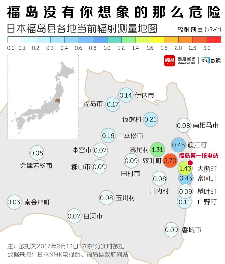 日本福岛县各地辐射测量地图,大部分已恢复正常。/视觉中国