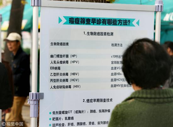 """2015年4月11日,北京中国医学科学院肿瘤医院,""""为什么癌症筛查""""宣传展板。/视觉中国"""