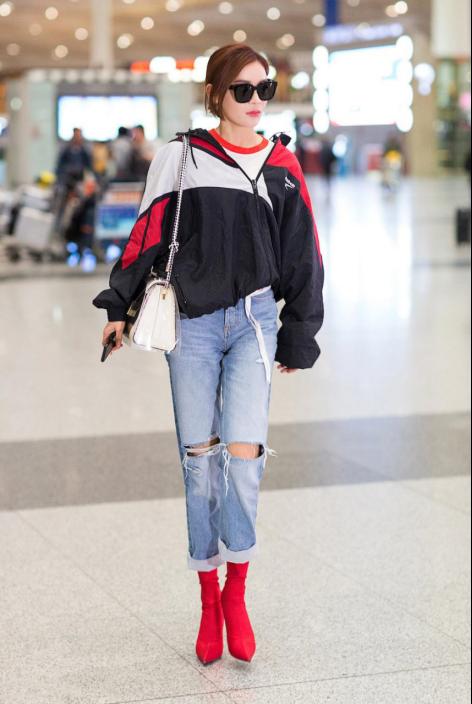 机场LOOK见衣品 张檬袁姗姗帅气出击