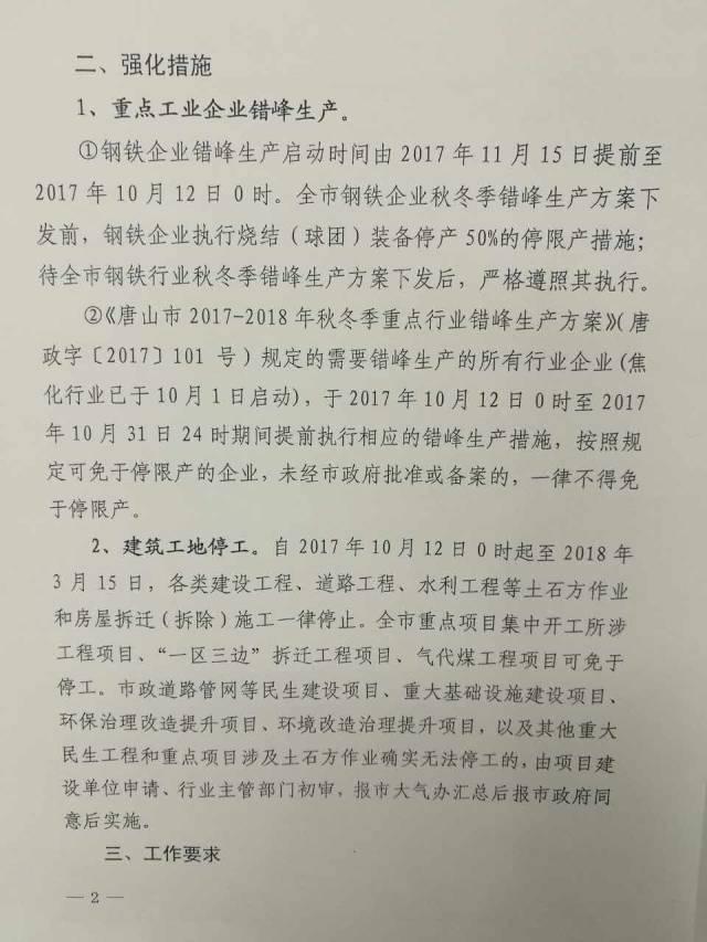 唐山钢铁限产提前至10月12日 建筑工地停工