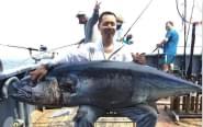 男子钓到180斤重金枪鱼