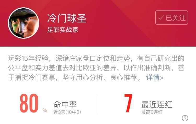 范志毅近期9中7状态平稳 冷门球圣达成7连红