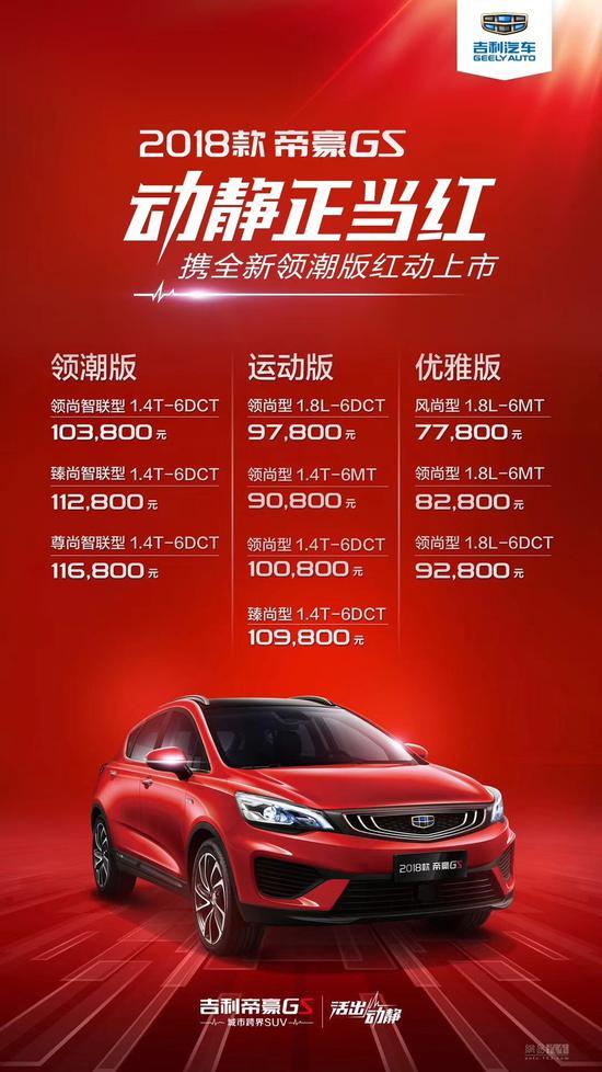 10款车型/7.78万起 2018款吉利帝豪GS上市