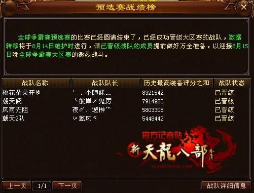 天龙八部全球争霸赛:太湖仙岛预选赛战况一览