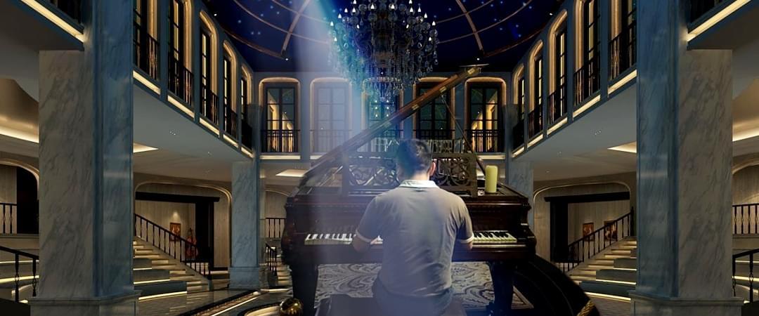 美女主播全球最大钢琴博物馆内弹钢琴