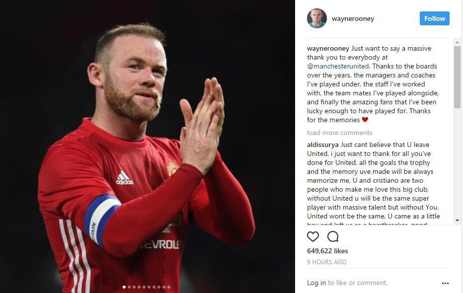 鲁尼连说7个感谢告别曼联 红魔球迷都已无语凝噎