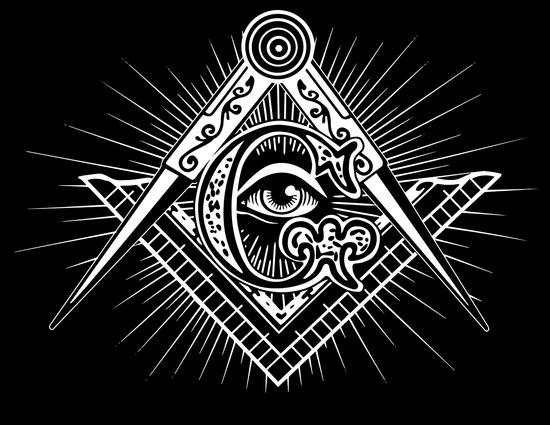 标尺、圆规、全视之眼、字母G、太阳等共济会元素集合在一起/Pixbay