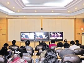 盘锦市总工会组织收看全国工会电视电话会议
