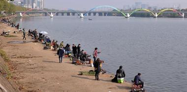 渔政江中投放鱼苗 上百人闻讯赶来垂钓