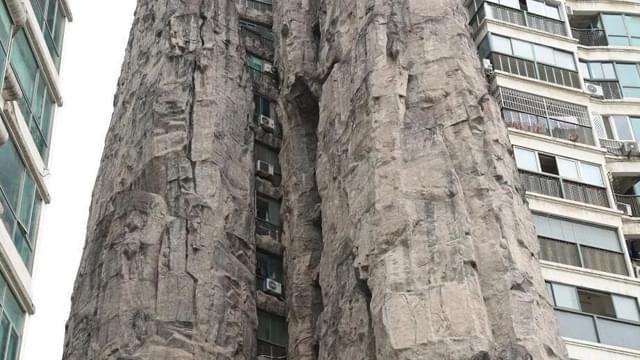 """上海一居民楼被14层高假山包裹 被调侃为""""山景房"""""""