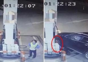 女司机和加油员吵架 驶离后掉头将其撞死