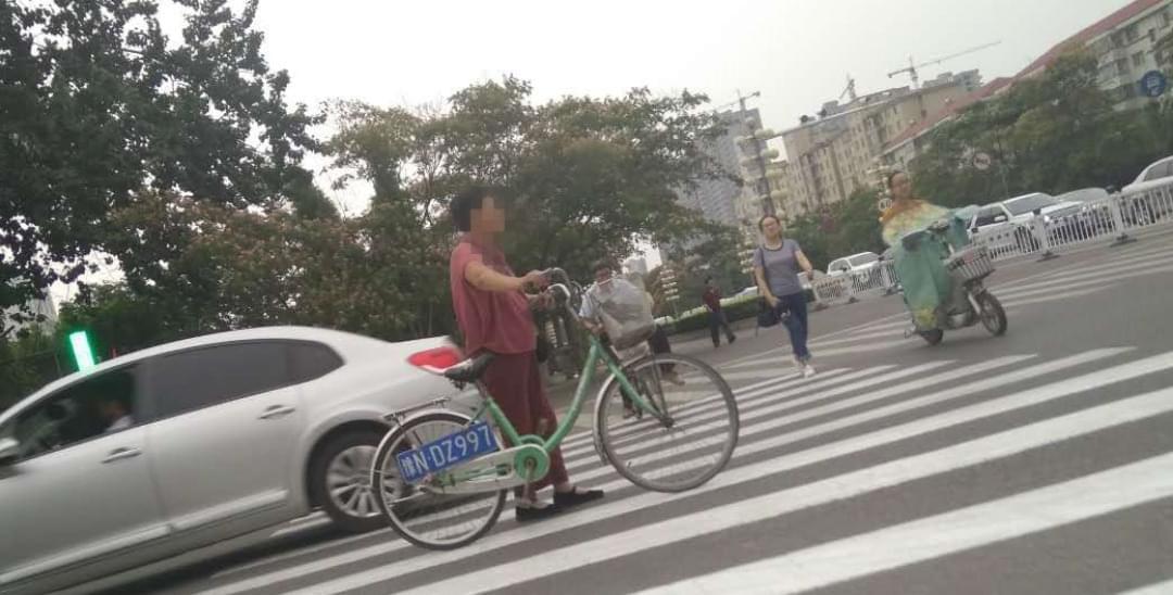 """商丘大妈自行车挂""""汽车牌照"""" 看傻"""