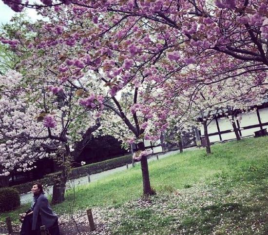 梁静茹面带微笑坐在树下