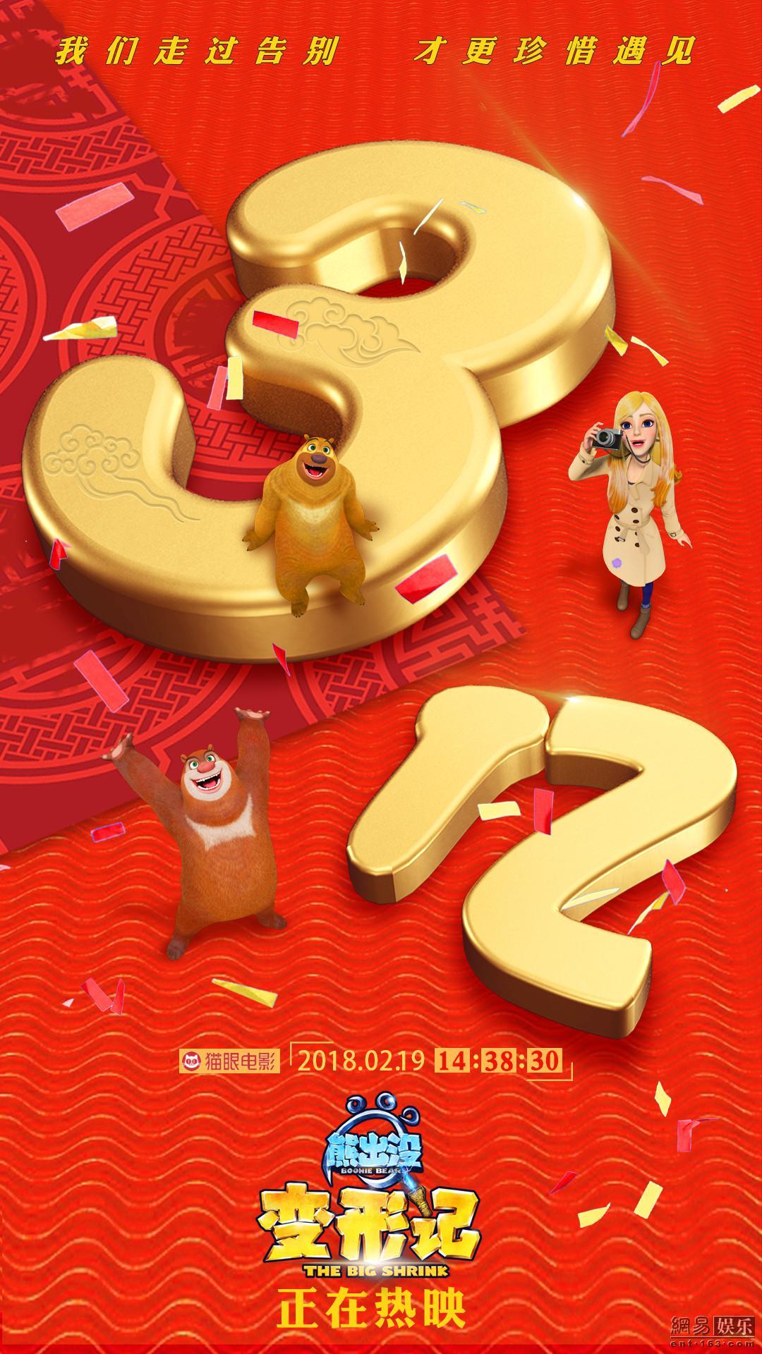 《熊出没·变形记》突破3亿票房