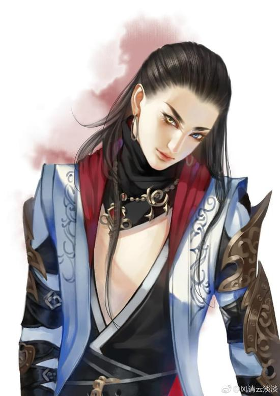 小哥哥媚眼撩人 剑网3玩家手绘成男美图分享