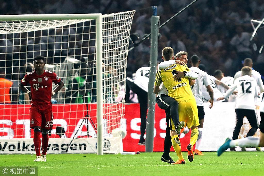 德国杯-莱万破门雷比奇2球 法兰克福3-1拜仁夺冠