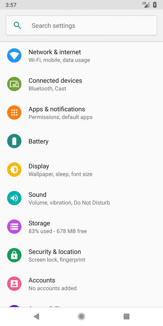 谷歌Android P操作系统基本功能曝光