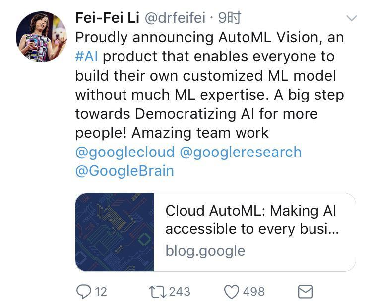 李飞飞宣布谷歌云里程碑事件:推出Cloud AutoML