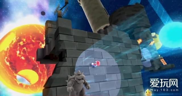 12:除了地心引力,提供重力的方式还有很多种,图中玩家一旦离开聚光灯,就会失重