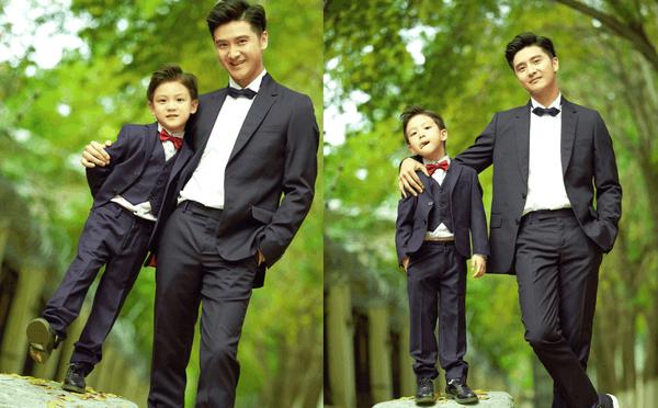 田亮晒与儿子亲子写真 基因强大两人神似