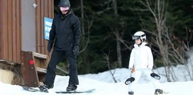 绝世宠溺!贝克汉姆独带小七滑雪