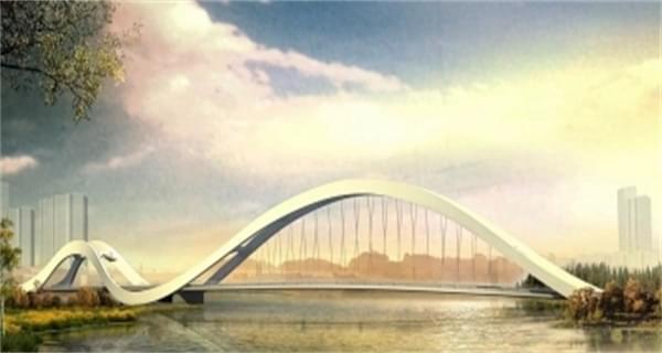 扬州三湾湿地凌波桥剪影桥开建