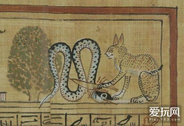 5古埃及壁画,神化身为猫击杀黑暗之蛇