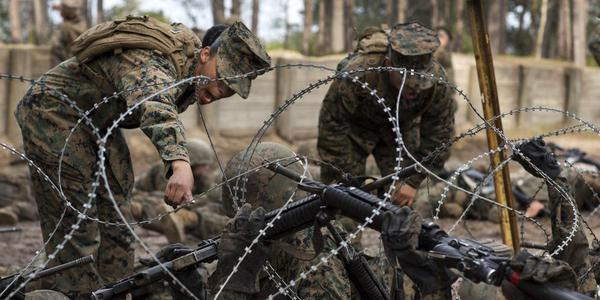 美军新兵在女教官呵斥下进行训练