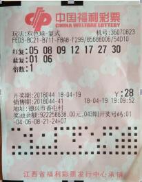 江西彩民独特选号击中双色球559万 中奖彩票首次曝光