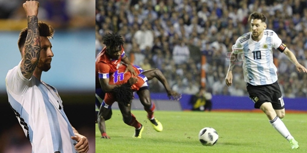 阿根廷热身4-0海地梅西3射1传老马哥里程碑