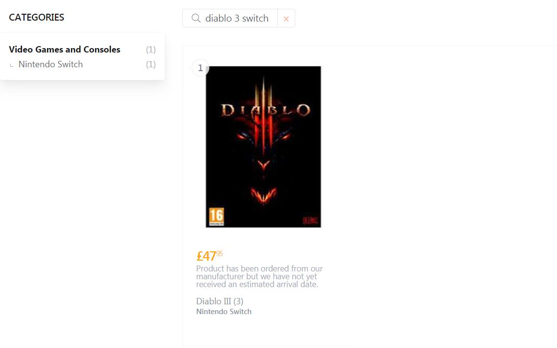 英国游戏零售商曝暗黑3登陆Switch,售价高达420元