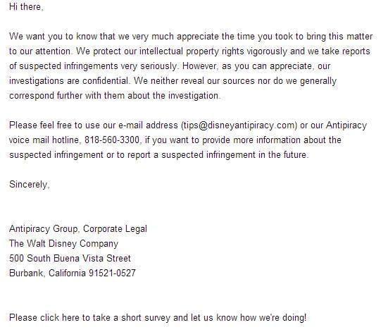 迪士尼回复邮件截图