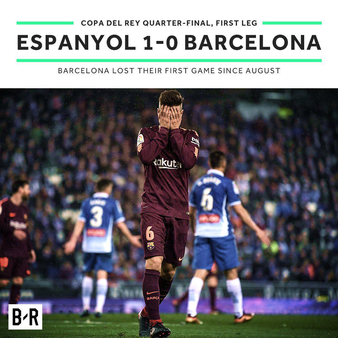 国王杯-梅西失点球保利尼奥伤退 巴萨被绝杀0-1