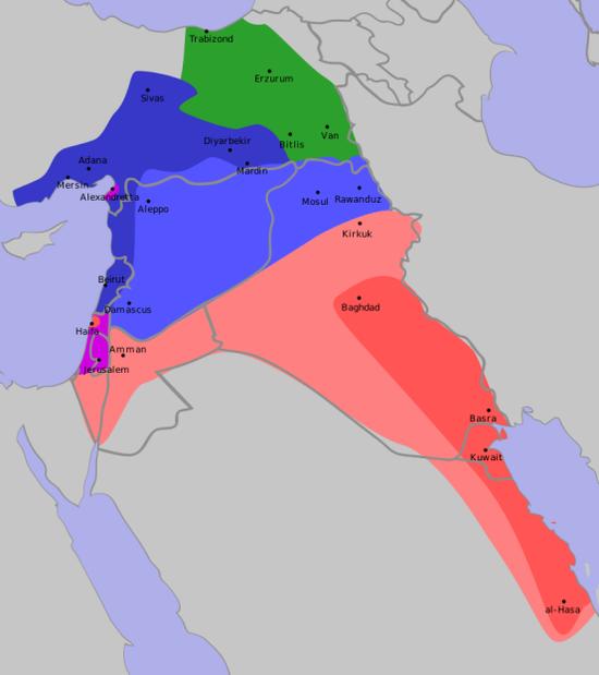 《赛克斯-皮科协定》大致确定了如今的阿拉伯世界东部各国边界,红色及浅红色为英国殖民地与势力范围,蓝色与浅蓝色为法国殖民地与势力范围,绿色为帝俄殖民地(因俄国爆发十月革命退出一战而取消),紫色为国际共管的巴勒斯坦地区