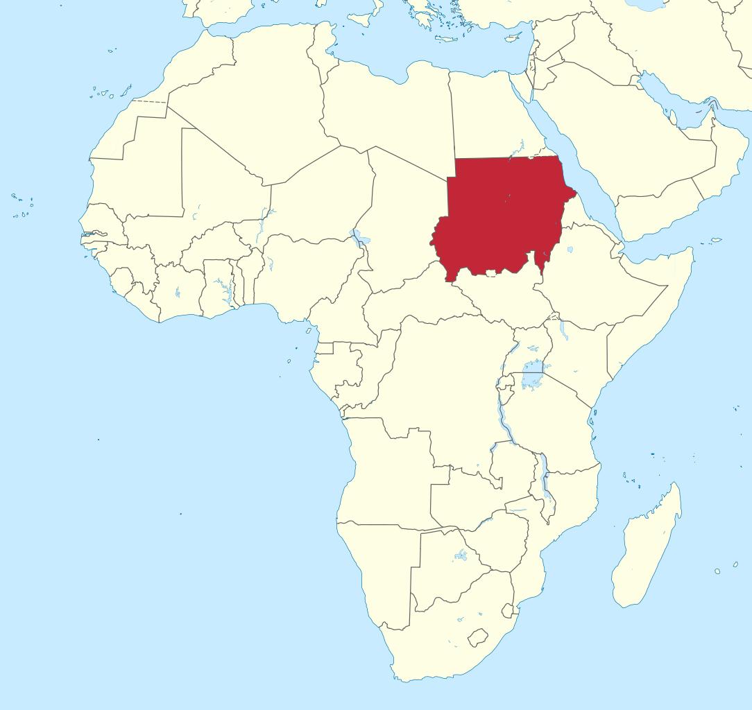 苏丹在世界地图上大概的位置。/Wikimedia