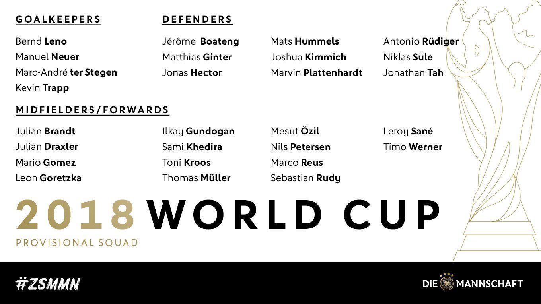 德国世界杯27人大名单:诺伊尔罗伊斯在列 格策落选