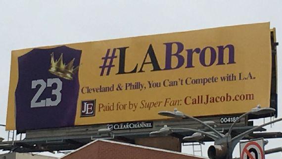 要啥过程!湖人总冠军! 洛城球迷购广告牌招募LBJ