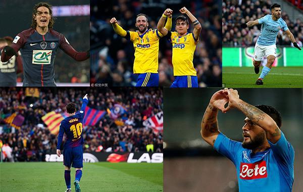 欧洲五大豪门冲击百分冠军 曼城最有戏拜仁最尴尬