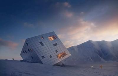山脉上横卧的倾斜房子