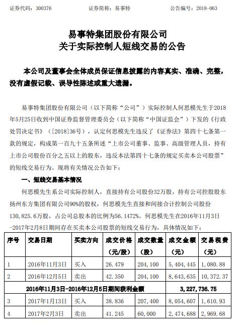 易事特:实控人已将短线交易获利所得366万上缴公司