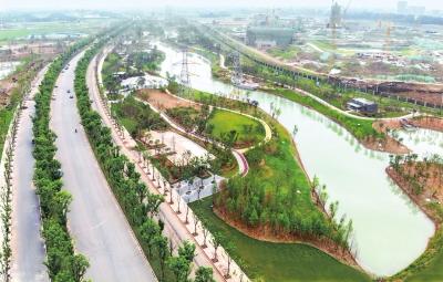 楚国八百年城市公园一期初具规模 二期施工已展开