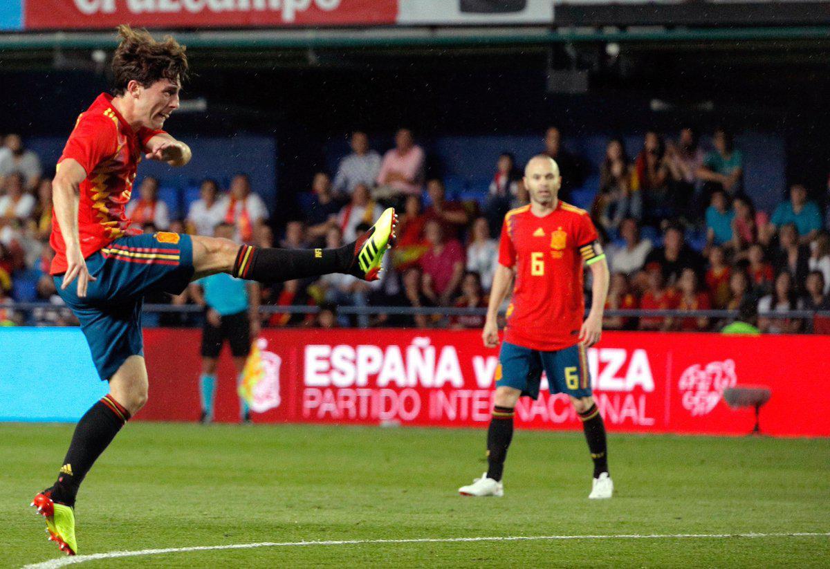 热身赛-小将凌空斩处子球R罗扳平 西班牙1-1瑞士