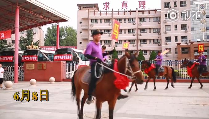 河北中学惊现八匹战马  寓意考生马到成功