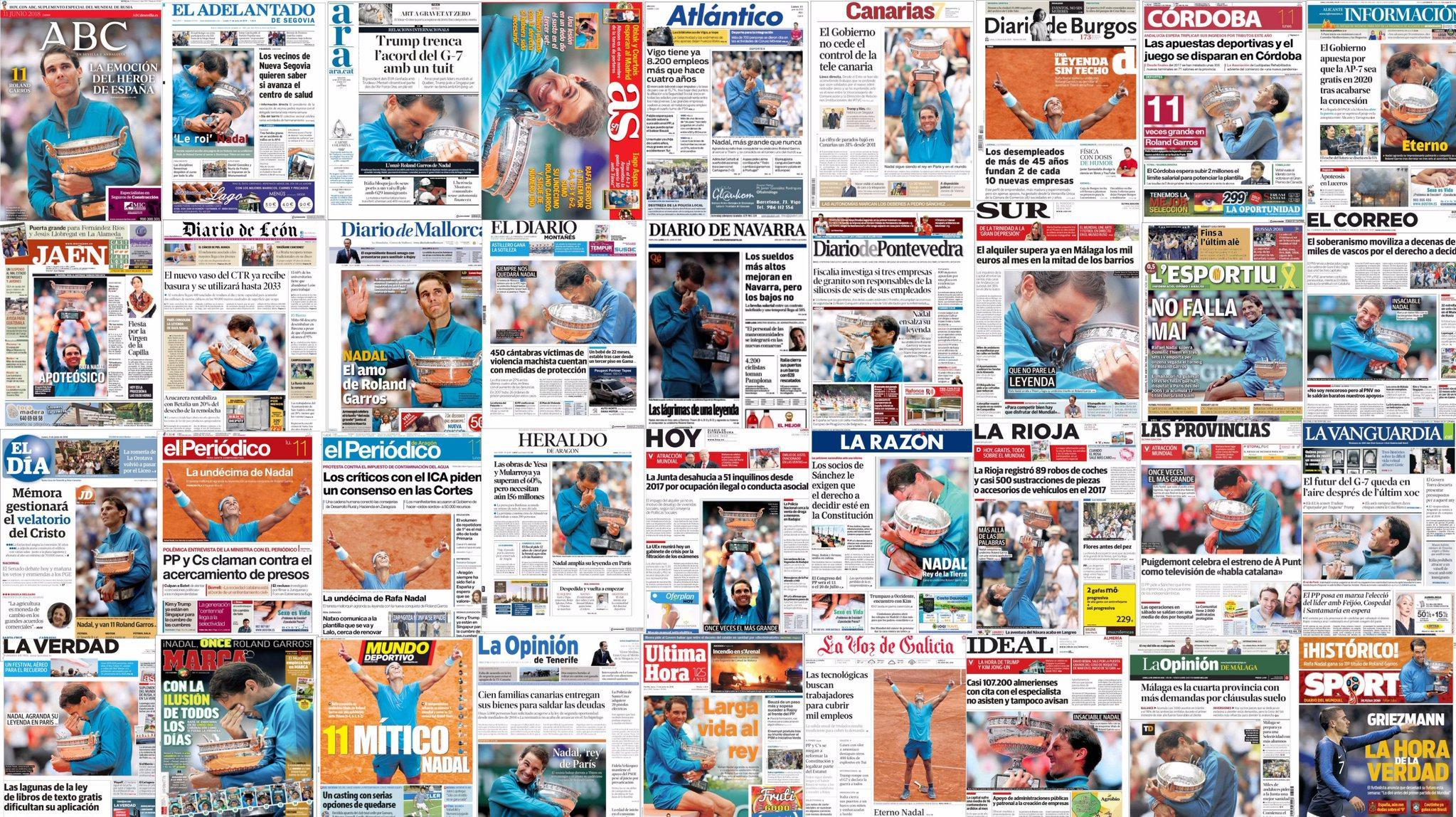 纳达尔占领全球媒体体育版 网友:11座王冠还不够