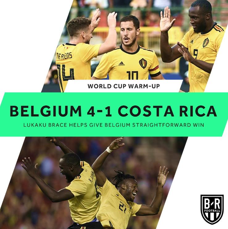 热身-曼联霸王2射1传 比利时4-1逆转哥斯达黎加