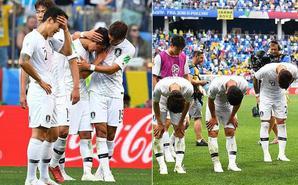 韩国输球 球员掩面而泣鞠躬道歉